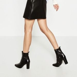 ZARA Black Leather High Heel Ankle Point Toe Boots